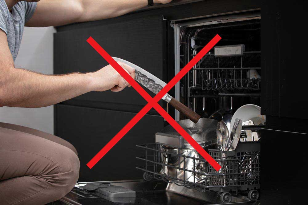 BARE Knife in dishwasher with red X